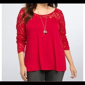 Torrid red lace top.
